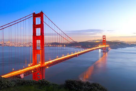 golden: Golden Gate Bridge at night time, San Francisco, USA Stock Photo