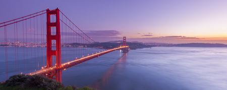 fog foggy: Golden Gate Bridge at night time, San Francisco, USA Stock Photo