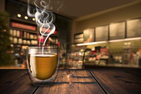 Tea On Wood Table Standard-Bild