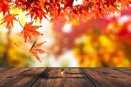 Blad van de herfst vallen op de houten tafel. Seizoen van de herfst