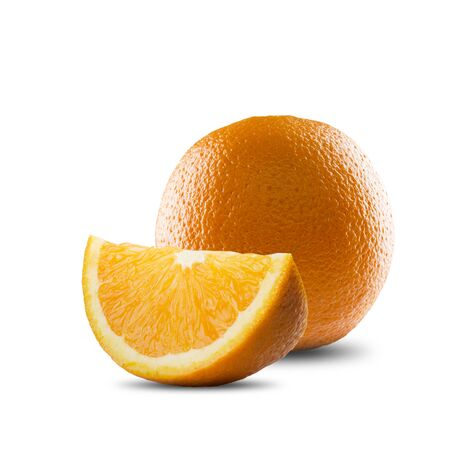 raw food: Slice of Orange Fruit On White Background Stock Photo