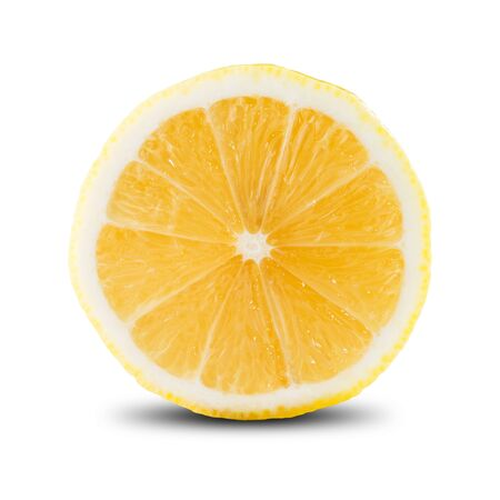 lemon slice: Slice of Lemon On White Background