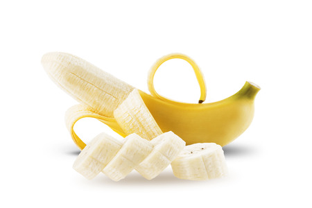 peeled banana: Peeled Banana On White Background