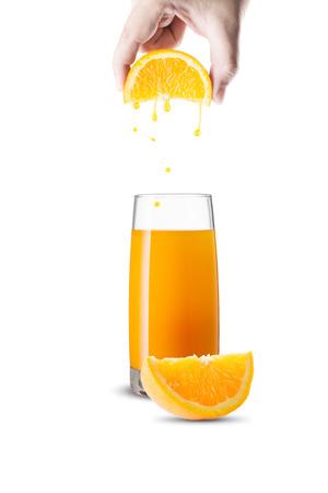 オレンジ ジュースのガラス
