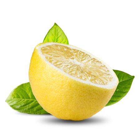 fresh leaf: Fresh Lemon Slice With Green Leaf On White Background
