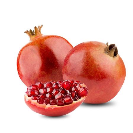 grenadine: Pomegranates Fruit With Cut Open On White Background Stock Photo