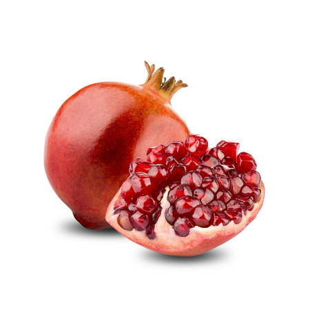 Cut Open Pomegranates Fruit On White Background