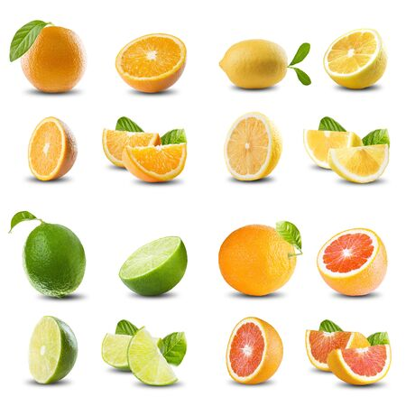 Fresh Citrus Fruits On White Background Archivio Fotografico