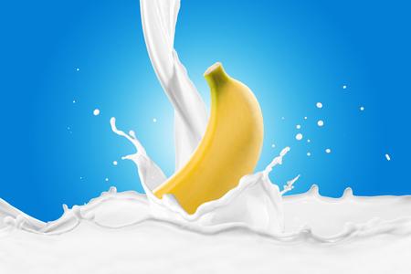 Fresh Banana With Milk Splash