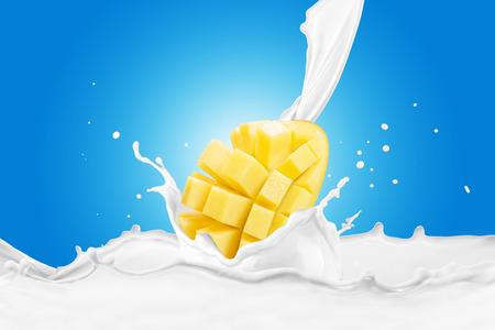 Mango With Milk Splash 版權商用圖片