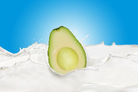 Fresh Avocado With Milk Splash