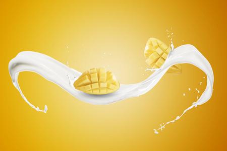 Mango With Milk Splash Standard-Bild