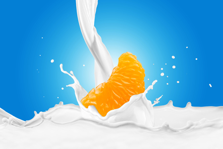 Fresh Orange With Milk Splash