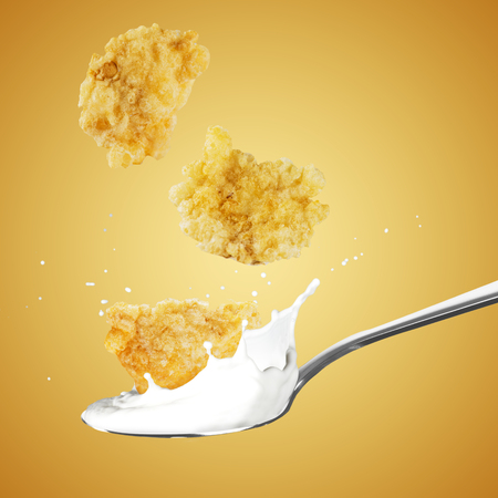 Cornflakes and Milk Splash 版權商用圖片 - 107909110