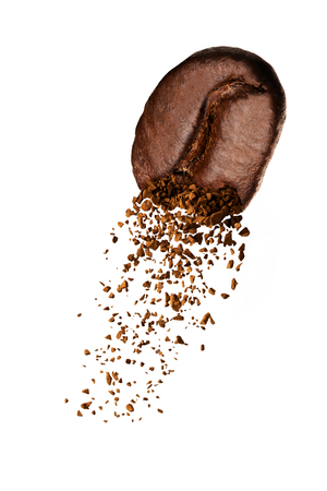 Coffee Bean With Coffee Ground On White Background