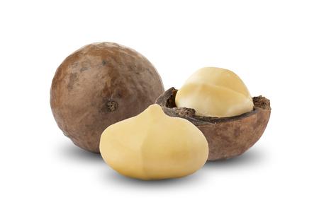 Fresh Macadamia Nuts On White Background Imagens