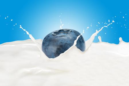 Fresh Blueberry With Milk Splash