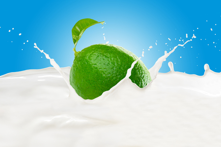 Lime With Milk Splash 版權商用圖片