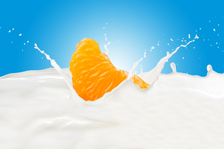 Orange With Milk Splash Imagens