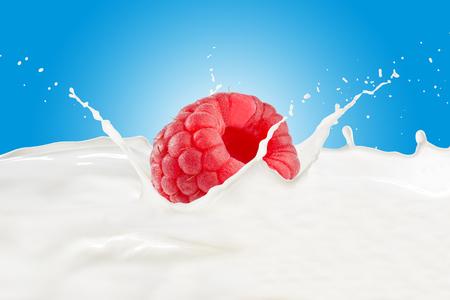 Raspberry With Milk Splash Imagens