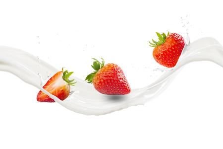 Fresh Strawberry With Milk Splash