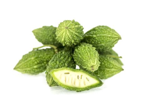 balsam: Balsam apple, Balsam pear, Bitter cucumber or Bitter gourd on white background