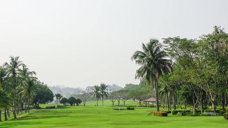 beautifull tropical golf course ,green fairway.Healthy exercise golf game concept.