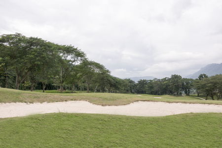 Sand bunkers on the golf course for backdrop background use.