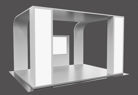 3d rendering. Blank creative exhibition stand design,booth template design in gray tone. Archivio Fotografico