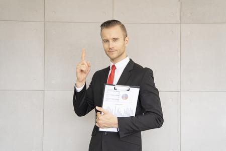 business man show good progress of work in office. Archivio Fotografico