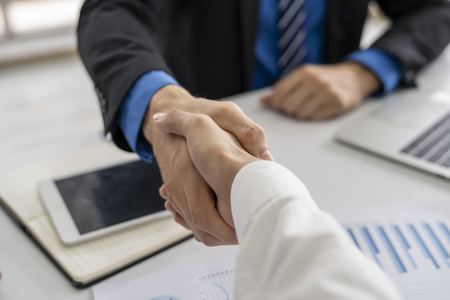 Entrepreneurs and business people conference in modern meeting room,shaking hand for success business,business concept.