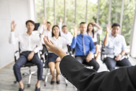 entrepreneurs or  manager teach and meeting to employee and discussion for business.