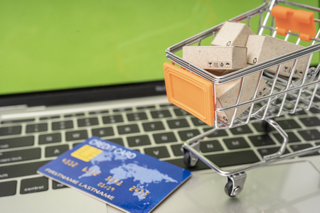 Selling or buying online,shopping online or e-commerce with paper box ,paper bag and credit card in shopping cart or trolley. Archivio Fotografico - 111266400
