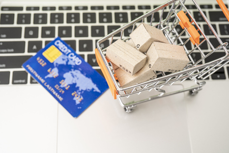Selling or buying online,shopping online or e-commerce with paper box ,paper bag and credit card in shopping cart or trolley. Archivio Fotografico - 111266403