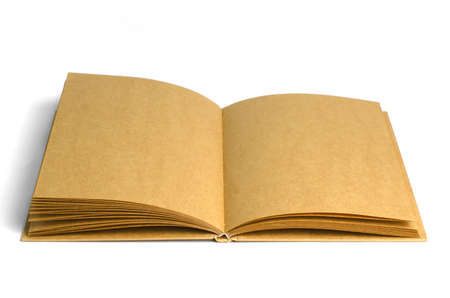 Old style recycle brown notebook isolated on white background