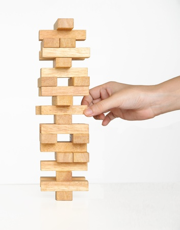 Tower Game with a Wooden Stock Photo