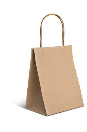 Paper brown bag on white background photo