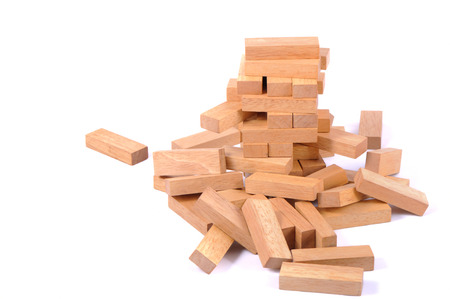 blocks wood game (jenga) down 版權商用圖片