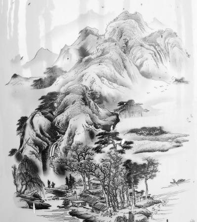 Peintures chinoises de montagnes Banque d'images - 41536554