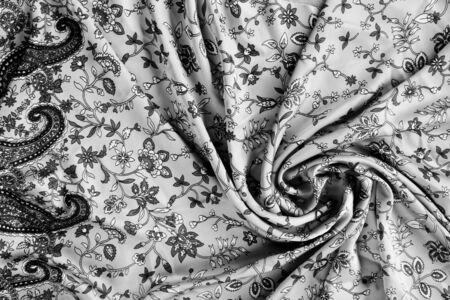 folds: patterned fabric in with different folds Stock Photo