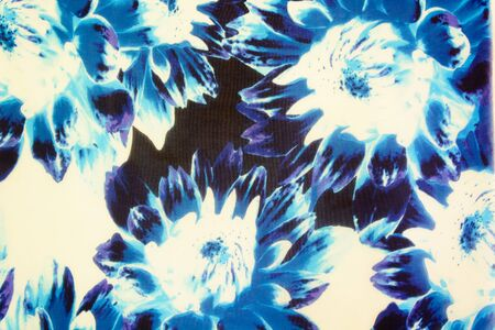 fabric surface: Lotus blue and white fabric surface Stock Photo