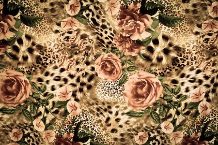 동물: 배경 인쇄 패브릭 줄무늬 표범과 꽃의 질감