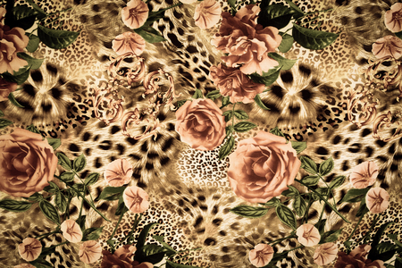 texture of print fabric striped leopard and flower for background Imagens