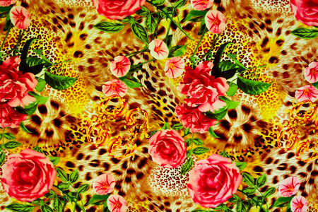scarves: texture of print fabric striped leopard and flower for background Stock Photo