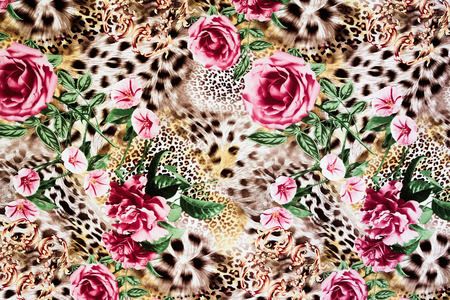 fabric painting: texture of print fabric striped leopard and flower for background Stock Photo