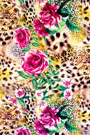 texture of print fabric striped leopard and flower for background Stock fotó
