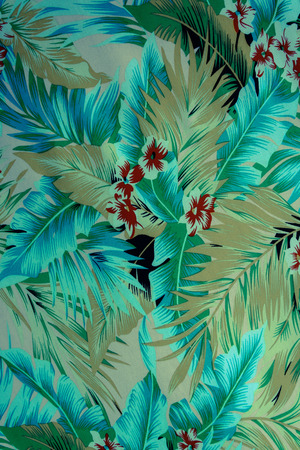 tiki party: texture fabric Vintage Hawaiian flowers and leaves for background