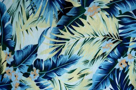 hawaiana: textura de tela vintage flores hawaianas y las hojas para el fondo