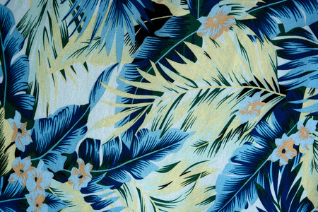 luau: texture fabric Vintage Hawaiian flowers and leaves for background
