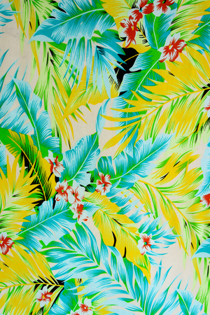 luau party: texture fabric Vintage Hawaiian flowers and leaves for background